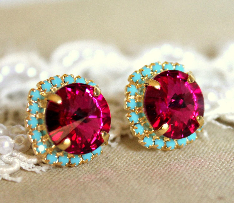 Swarovski Crystal Pink Fuchsia Turquoise Gold Or Silver Stud Earrings,pink  Turquoise Swarovski Bridesmaids Earrings