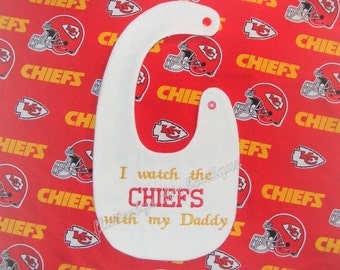 NFL Kansas City Chiefs Reversible Bib with embroidery - NFL Bib - Chiefs Bib - Chiefs Baby - Kansas City - NFL - Chiefs - Baby Bib