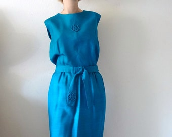 1960s Shannon Rodgers Cocktail Dress / sapphire blue wiggle sheath / designer vintage