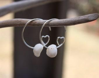 Heart Earrings Shell Earrings Heart Jewelry Shell Jewelry Hawaiian Jewelry Hawaii Jewelry Beach Jewelry Simple Earrings Everyday Earring 066