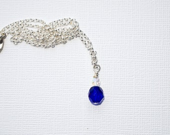 Deep Blue Crystal Necklace and Earring Set - Great for September birthdays
