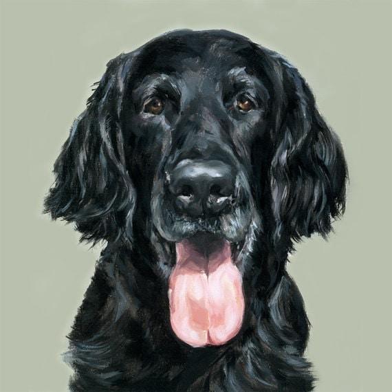 Ltd Ed. Flat - Coated Retriever dog Print