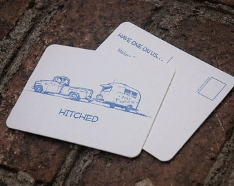 """Letterpress printed """"Save the Date"""" coaster postcards. Eco-friendly."""