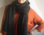 Pure cashmere charcoal Big scarf