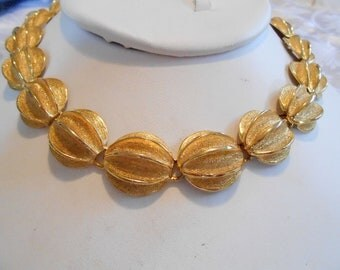 Vintage necklace, choker necklace, gold tone necklace, elegant necklace, designer necklace