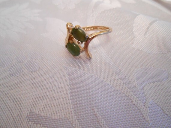 Vintage ring, jade ring, size 6 ring, HGE ring, abstract jade ring, dinner ring
