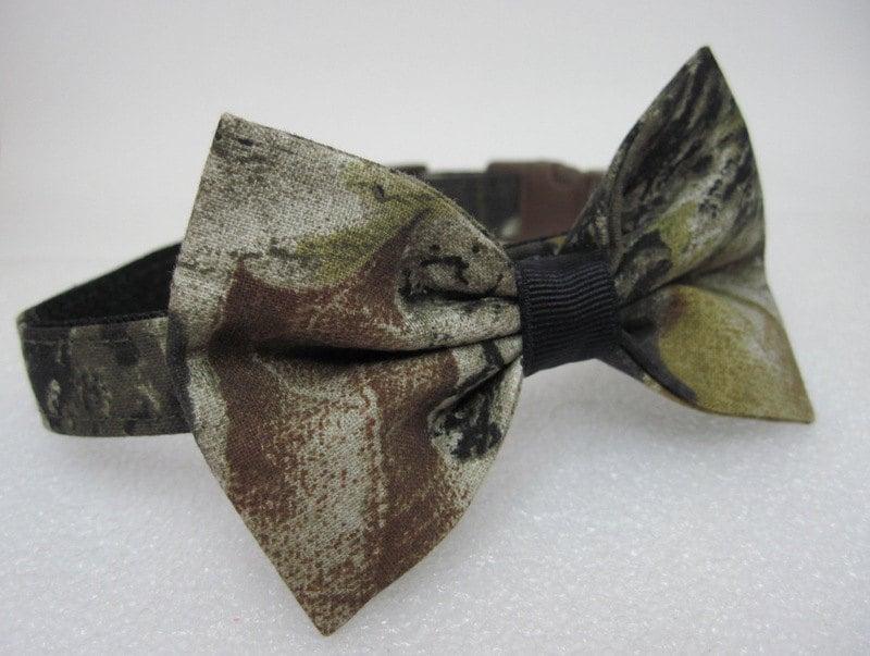 mossy oak camo collar with bow tie