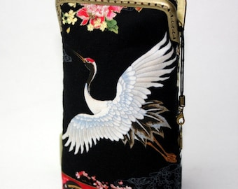 iPhone 6S Case Fabric, iPhone 6S Plus Case, iPod Touch Case, Cell Phone Case, Japanese Crane Floral Cotton iPhone SE