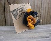 Notre Dame Fighting Irish or Navy Midshipmen Inspired Scrappy Felt and Yarn Flower Pin Brooch - Navy Blue & Gold - Handmade