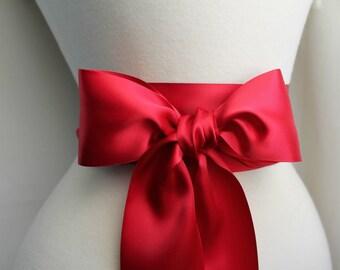 Scarlet Red Satin Sash - Crimson Bordeaux Sash Belt  - 2 1/4in. - Double Faced Satin Ribbon Sash - Valentines - Bridal Bridesmaids Sashes