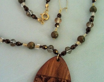 Rhyolite and Crystal Necklace and Earrings with Bayong Wood Pendant