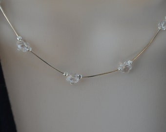 SALE - Sterling Silver Necklace with Clear Swarovski Flowers -Delicate Stunning Gift for Wife, Girlfriend, Sister , Mom