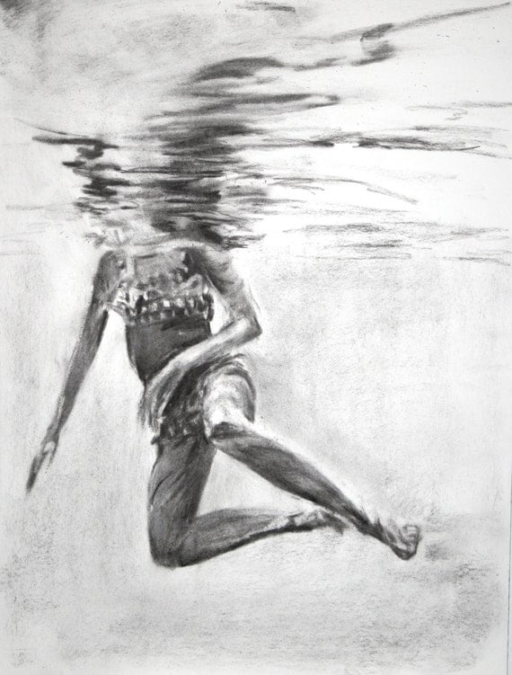 Pool day original charcoal drawing 16 x 20 How to draw swimming pool water