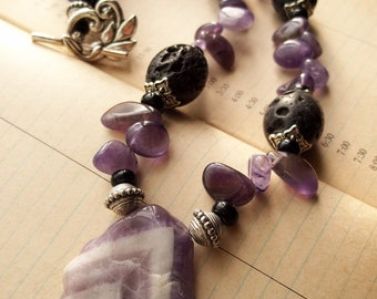 Amethyst and Lava necklace