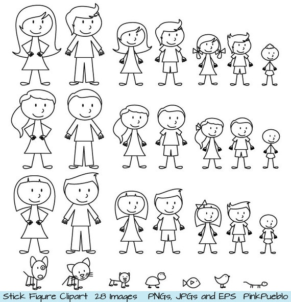 Stick Figure Kids Clipart Black And White