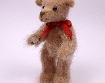 Miniature Artist Bear. Floral paw pads. 7cm - 2 3/4 inches