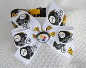 Dog Collar Pittsburgh Steelers Black and Gold w Steelers Ribbon Bow Adjustable Dogs Collars D Ring Handmade  Choose Size Sports Football Pet