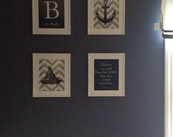 "Nautical Nursery Art Nautical Decor Sailboat Anchor Silhouette Chevron Stripes Scripture Sign Set of 4 prints  for modern nursery-  8""x10"""