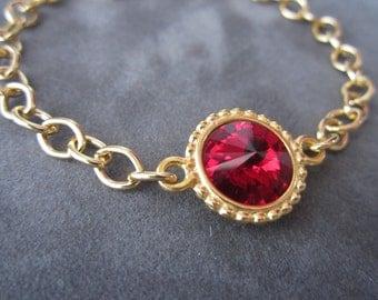 Gold January Birthstone Bracelet, Swarovski Crystal Garnet Birthstone Jewelry, Deep Red Garnet Bracelet