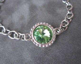 August Birthstone Bracelet, Swarovski Crystal Birthstone Jewelry, Silver, Peridot Bracelet