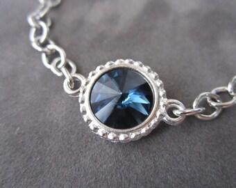 Montana Sapphire Bracelet, Silver Navy Bracelet, Swarovski Crystal Jewelry, Montana Blue Sapphire Bracelet