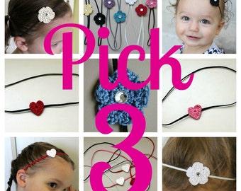 Small Crochet Headbands- Pick Any 3 Custom, Crochet Flower or Crochet Heart with Skinny Elastic Headband