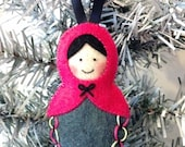 Felt Russian Doll Ornament hand embroidered/ pink grey