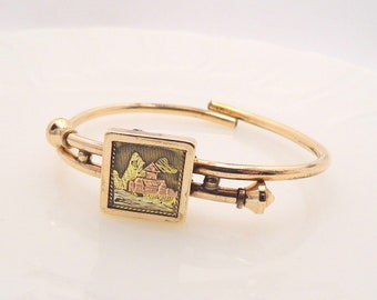 Antique Victorian Gold Filled Claspet Clamper Bracelet