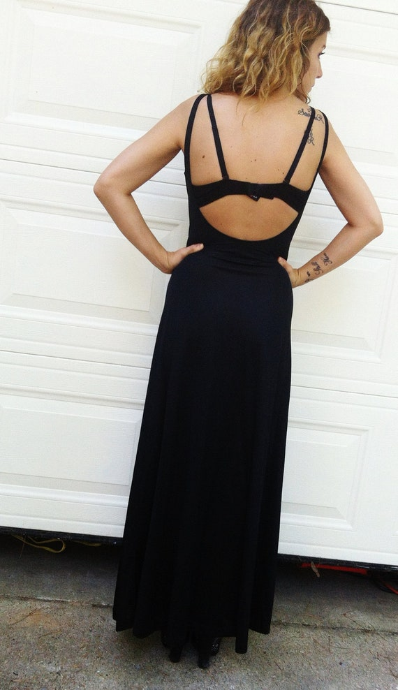 dramatic LOW BACK bodycon Dramatic COWL neck Black Maxi Dress sleeveless Column gown