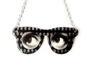 Surreal Eyeglass Necklace Eyes Silver Customize Personalize Black and White Polka Dot Statement Jewelry