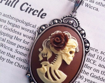 Skull Necklace - Lolita Skeleton Cameo- Ivory/Brown