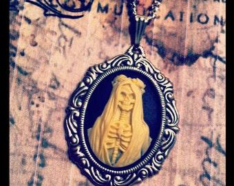 Santa Muerte Cameo Necklace - Saint of Death - Petite Jewelry