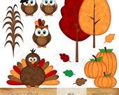INSTANT DOWNLOAD - Digital Clip Art - Thanksgiving clipart, Thanksgiving clip art, Fall clip art, Owl Clipart, Owl Clip Art, Turkey, Pilgrim
