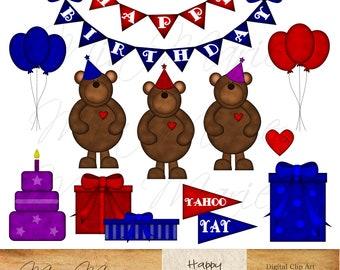 INSTANT DOWNLOAD - Digital Clip Art - Bear Clipart, Bear Clip Art, Birthday clipart, Birthday clip art, happy birthday, birthday cake