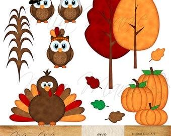 Fall Clipart Autumn Graphics Fox Art Owl Graphics