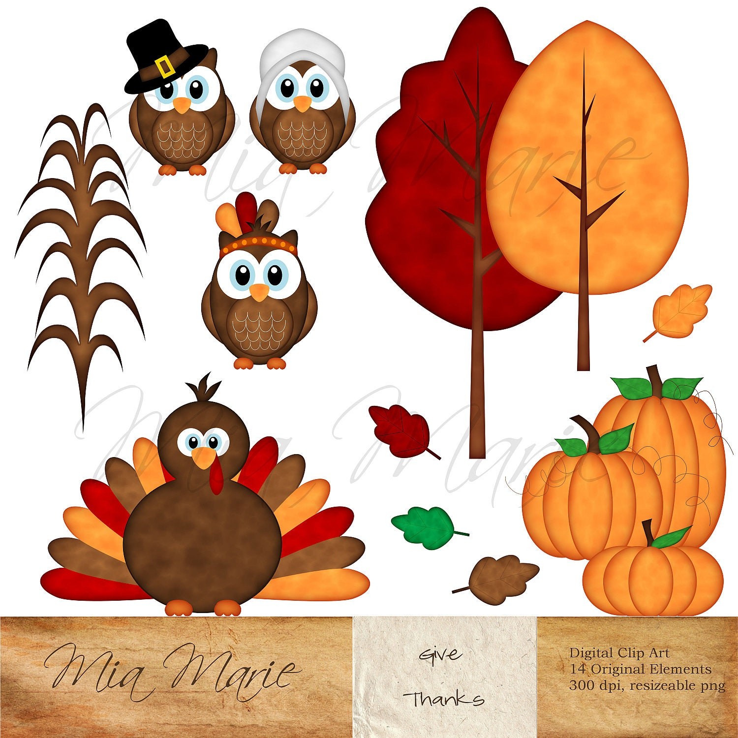 INSTANT DOWNLOAD Digital Clip Art Thanksgiving by MyMiaMarie