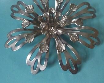 "silver petals """" vintage ajoure brooch """" ON SALE"