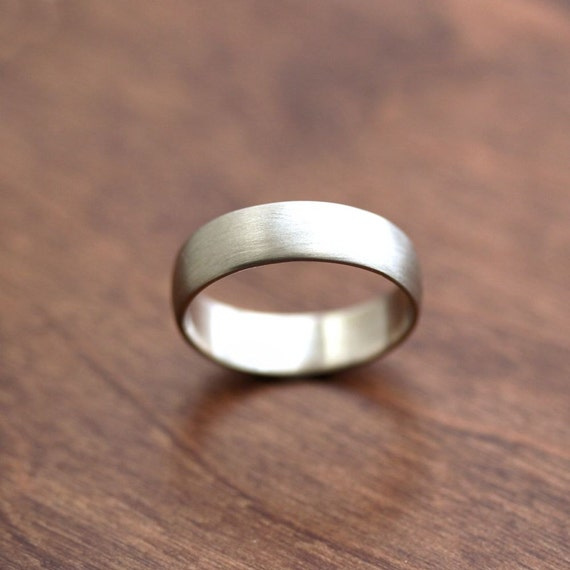 Wide Men's White Gold Wedding Band, Recycled 14k Palladium White Gold 6mm Brushed Low Dome Man's Gold Wedding Ring - Made in Your Size