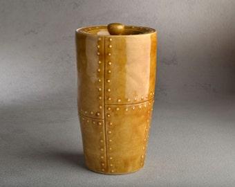 Lidded Jar Ready To Ship Brown Faux Sheet Metal Stoneware Lidded Jar by Symmetrical Pottery