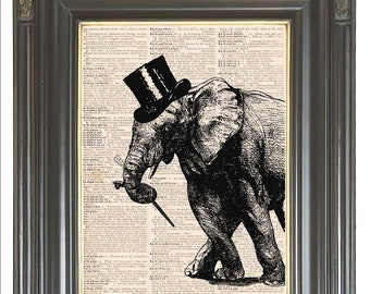 Tap dancing elephant print on dictionary or music page COUPON SALE Dictionary art print Digital print Music printTop hat Cane Item No 218
