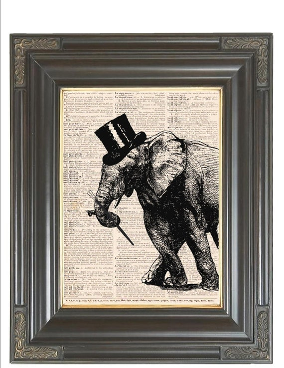 Tap dancing elephant wall art print on dictionary or music COUPON SALE Dictionary art print Digital Music print Top hat Cane Item No 218