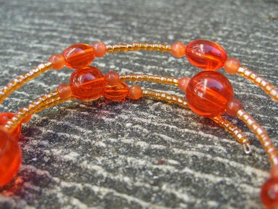 Orange bracelet, chunky bright orange glass beaded coiled bracelet, beaded jewellery