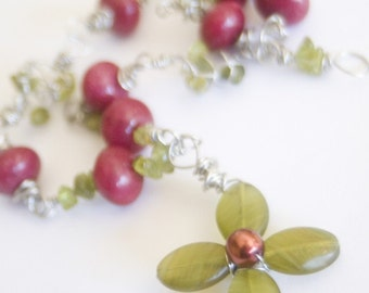 Raspberry Jade and Peridot Wire Wrapped Necklace with Glass Wired Flower - Raspberry Cordial - Art Jewelry by Sarah McTernen
