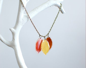 Pressed leaf Autumn Fall resin necklace -real leaf jewelry yellow, red, brown set -nature inspired jewelry, gift for a woman, gift under 35
