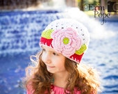 Crochet Holiday Hat, Flapper Style Beanie,baby, toddler, child, tween, teen, adult, White, Pink, Lime, and Red