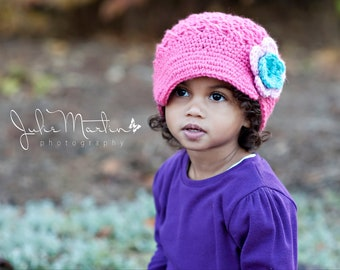 Girls hat, Crochet hat, Brimmed Flower Newsgirl, newsboy, Crocheted Hat in Hot Rose, Turquoise, and Pink