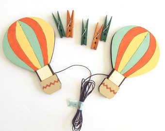 Children's Artwork display hanger- hot air balloons-  kids wall art -green and orange, displaying kids art