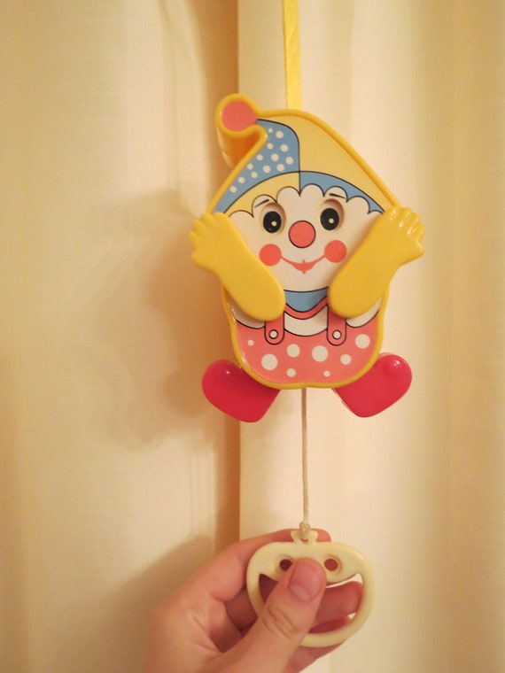 Vintage Lullaby Hanging Musical Peek A Boo Clown Toy