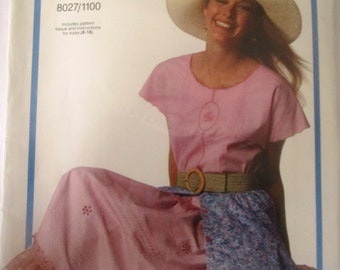 Vogue 8027 Women's 90s Top Skirt Sewing Pattern Bust 31 to 40