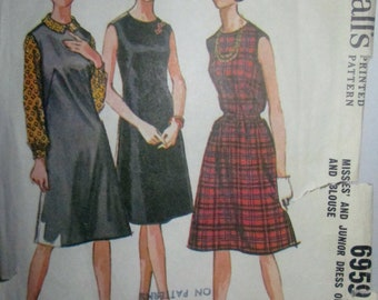 McCalls 6959 Misses 60s Sleeveless Dart Fitted Dress or Jumper and Blouse Sewing Pattern Size 12 Bust 32